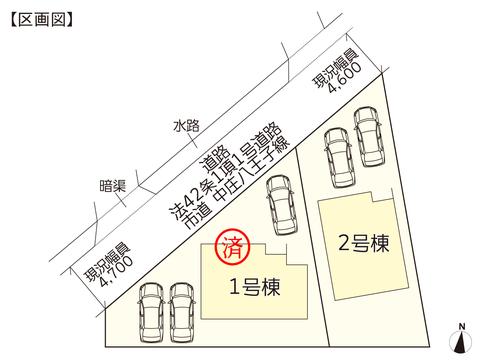 岡山県倉敷市平田の新築 一戸建て分譲住宅の区画図