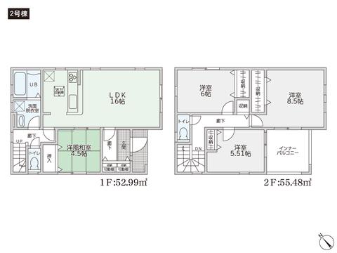 岡山県倉敷市東粒浦の新築 一戸建て分譲住宅の間取り図