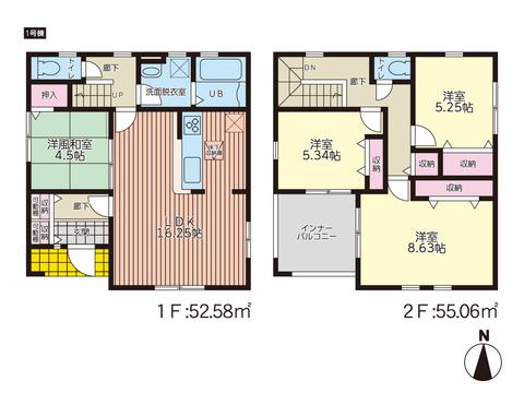 岡山市東区東平島の新築 一戸建て分譲住宅の間取り図