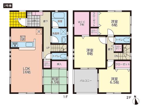 岡山県岡山市南区宗津の新築 一戸建て分譲住宅の間取り図