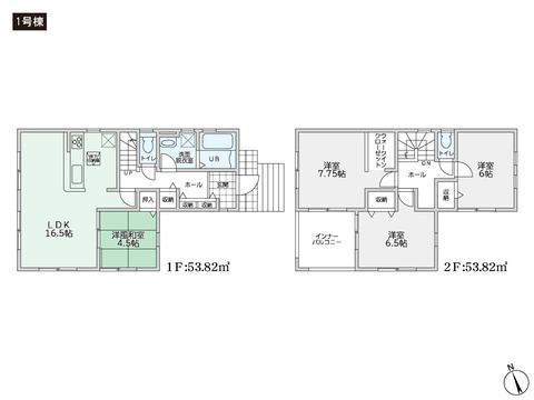 岡山県倉敷市児島唐琴の新築 一戸建て分譲住宅の間取り図