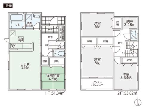 岡山県岡山市南区西市の新築 一戸建て分譲住宅の間取り図