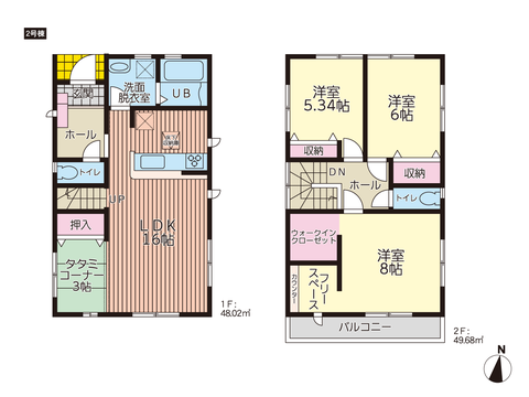 岡山市南区福島の新築 一戸建て分譲住宅の間取り図