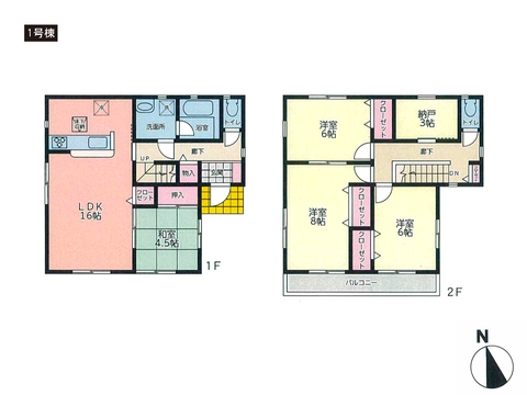 岡山県瀬戸内市長船町福岡の新築 一戸建て分譲住宅の間取り図