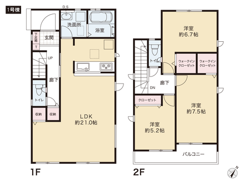岡山県玉野市玉6丁目の新築 一戸建て分譲住宅の間取り図