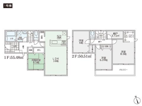 岡山県玉野市山田の新築 一戸建て分譲住宅の間取り図