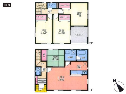 岡山県倉敷市児島小川1丁目の新築 一戸建て分譲住宅の間取り図
