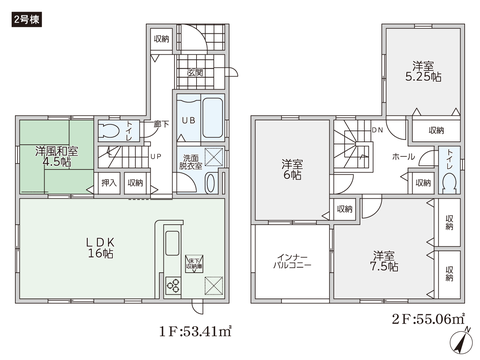 岡山県岡山市中区円山の新築 一戸建て分譲住宅の間取り図