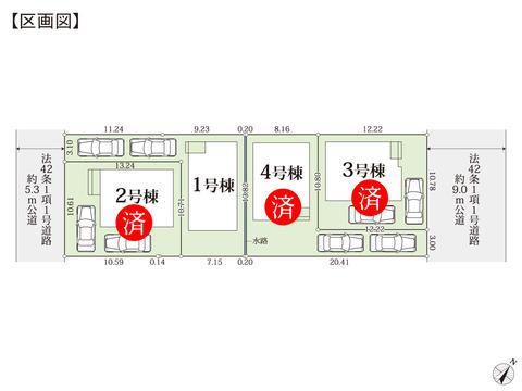 岡山県玉野市玉6丁目の新築 一戸建て分譲住宅の区画図