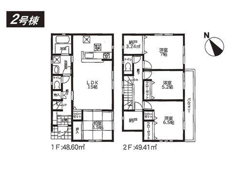岡山県瀬戸内市長船町福里の新築 一戸建て分譲住宅の間取り図