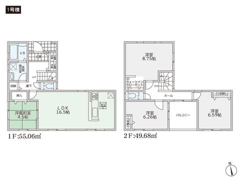 岡山県倉敷市笹沖の新築 一戸建て分譲住宅の間取り図
