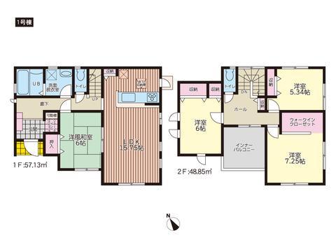 岡山市中区東川原の新築 一戸建て分譲住宅の間取り図