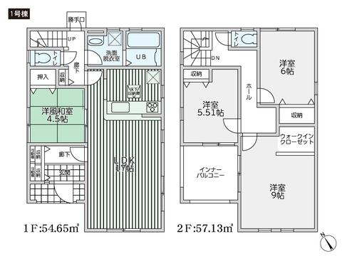 岡山県倉敷市西阿知町西原の新築 一戸建て分譲住宅の間取り図