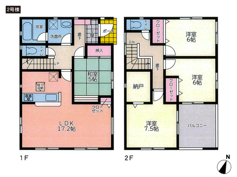 岡山県岡山市東区楢原の新築 一戸建て分譲住宅の間取り図