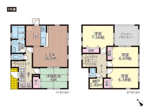 岡山県赤磐市町苅田の新築 一戸建て分譲住宅の間取り図