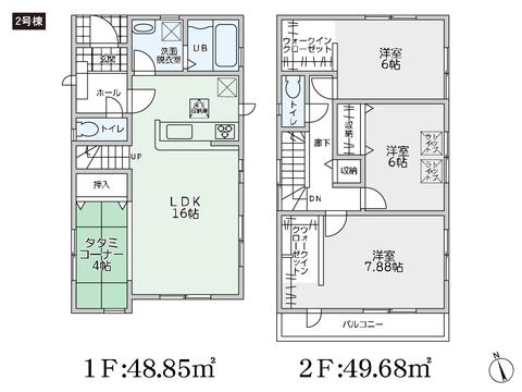 岡山県岡山市南区あけぼの町の新築 一戸建て分譲住宅の間取り図