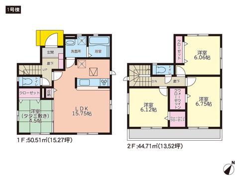 岡山県岡山市南区福島の新築 一戸建て分譲住宅の間取り図