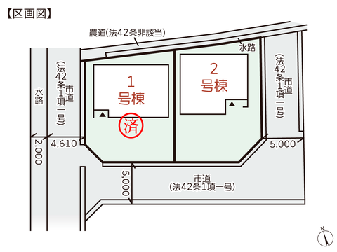 岡山県瀬戸内市邑久町山田庄の新築 一戸建て分譲住宅の区画図