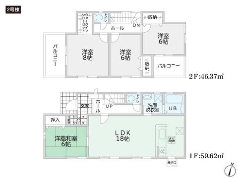 岡山県倉敷市児島赤崎の新築 一戸建て分譲住宅の間取り図