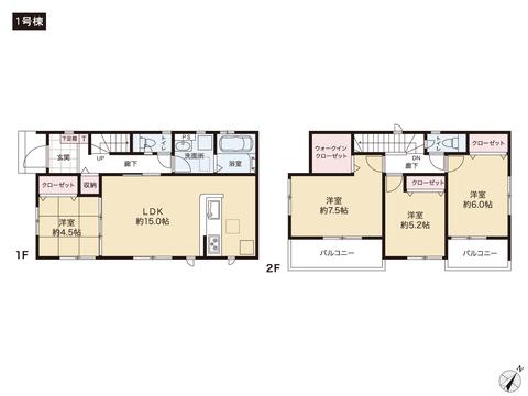 岡山県岡山市東区瀬戸町万富の新築 一戸建て分譲住宅の間取り図