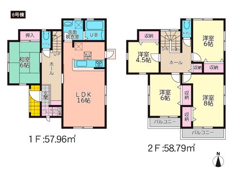 岡山県倉敷市船穂町船穂の新築 一戸建て分譲住宅の間取り図