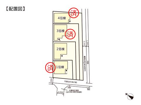 岡山市北区西辛川の新築 一戸建て分譲住宅の区画図