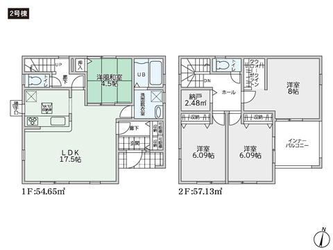 岡山県倉敷市上富井の新築 一戸建て分譲住宅の間取り図