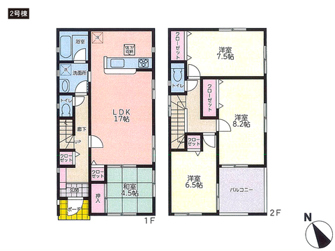岡山県岡山市中区門田文化町の新築 一戸建て分譲住宅の間取り図