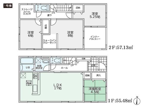 岡山県倉敷市羽島の新築 一戸建て分譲住宅の間取り図