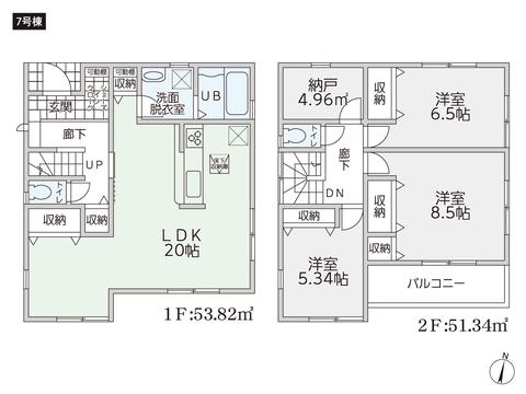 岡山県岡山市南区福吉町の新築 一戸建て分譲住宅の間取り図