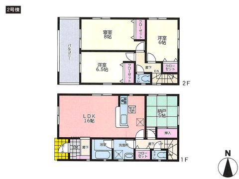 岡山県岡山市東区西大寺松崎の新築 一戸建て分譲住宅の間取り図