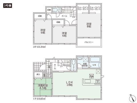 岡山県瀬戸内市長船町の新築 一戸建て分譲住宅の間取り図