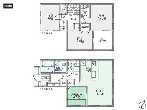 岡山県総社市溝口の新築 一戸建て分譲住宅の間取り図