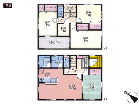 岡山県岡山市中区沢田の新築 一戸建て分譲住宅の間取り図