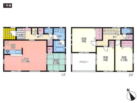 岡山県総社市門田の新築 一戸建て分譲住宅の間取り図