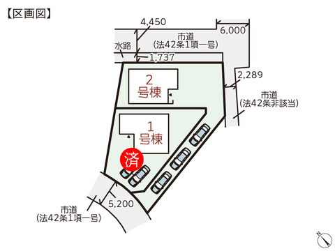 岡山県倉敷市東粒浦の新築 一戸建て分譲住宅の区画図