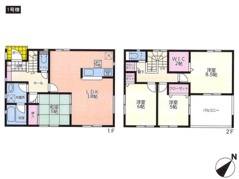 岡山県倉敷市玉島の新築 一戸建て分譲住宅の間取り図