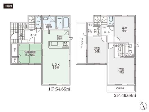 岡山県倉敷市連島中央の新築 一戸建て分譲住宅の間取り図