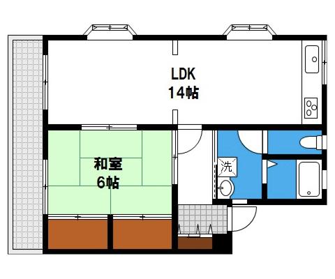 岡山県岡山市北区西崎本町の賃貸物件アパートの間取り図