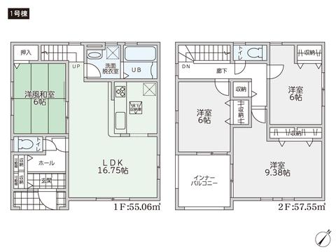 岡山県都窪郡早島町早島の新築 一戸建て分譲住宅の間取り図