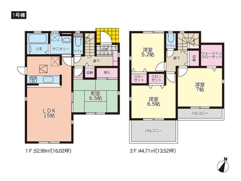 岡山市中区平井の新築 一戸建て分譲住宅の間取り図