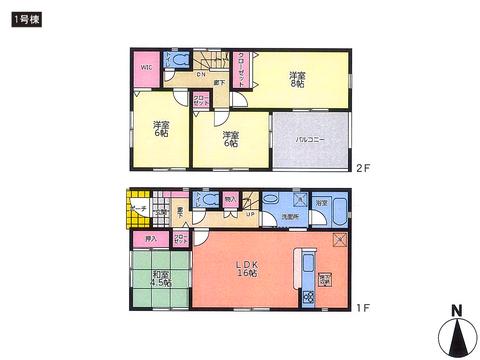 岡山県岡山市中区神下の新築 一戸建て分譲住宅の間取り図