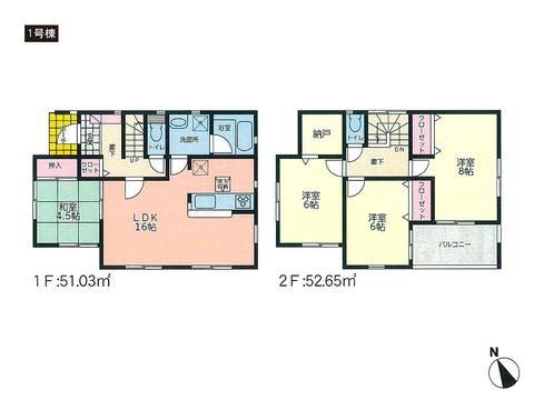 岡山県玉野市槌ヶ原の新築 一戸建て分譲住宅の間取り図