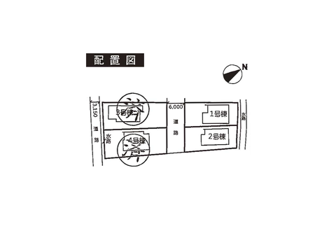 岡山県瀬戸内市長船町福里の新築 一戸建て分譲住宅の区画図