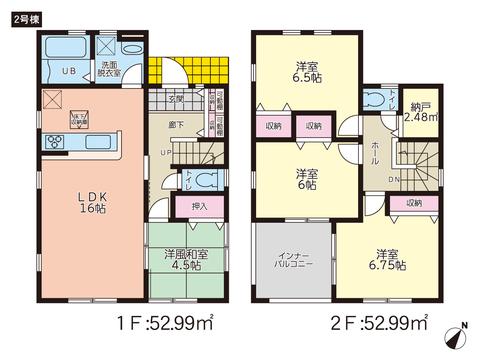 岡山県倉敷市西阿知町の新築 一戸建て分譲住宅の間取り図
