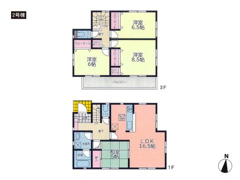 岡山県岡山市北区原の新築 一戸建て分譲住宅の間取り図