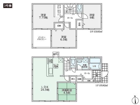 岡山県総社市清音上中島の新築 一戸建て分譲住宅の間取り図