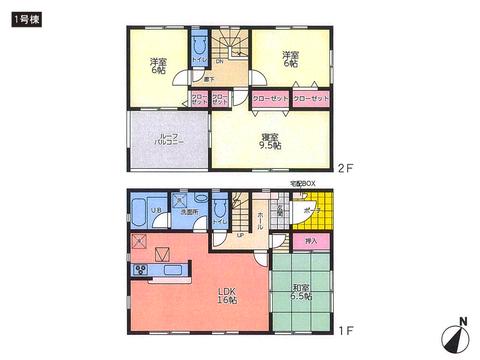 岡山県倉敷市玉島阿賀崎の新築 一戸建て分譲住宅の間取り図