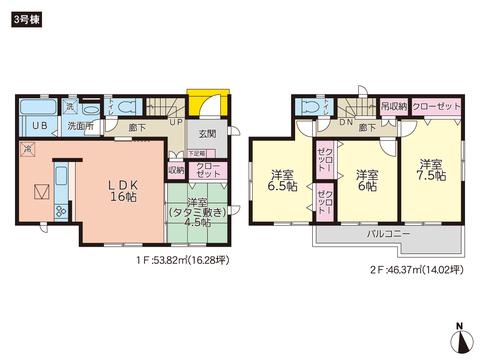 岡山県瀬戸内市邑久町豊安の新築 一戸建て分譲住宅の間取り図