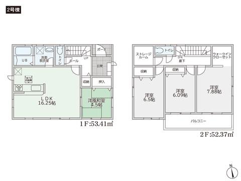 岡山県岡山市南区千鳥町の新築 一戸建て分譲住宅の間取り図